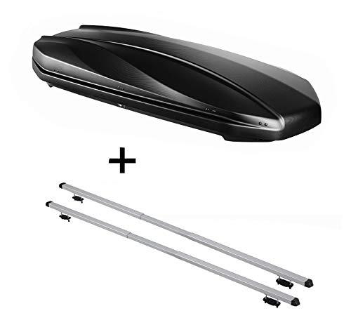Dakbox Strike 440 liter mat zwart + dakdrager Rapid compatibel met Volvo XC90 (5-deurs) vanaf 15