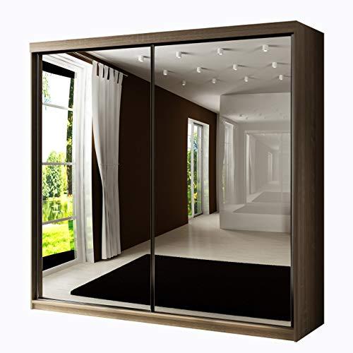 Mirjan24 Kleiderschrank Toplo 200 II, 2 Spiegel, Dielenschrank, Garderobenschrank, Schlafzimmerschrank, 200 x 200 x 62 cm, Schwebetürenschrank (Sonoma Eiche, mit Blauer LED Beleuchtung)