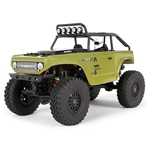 Axial SCX24 1/24 Deadbolt RC Crawler 4WD Truck 8' RTR with LED Lights, 3-Ch 2.4GHz Transmitter, Battery, and USB Charger: (Green) AXI90081T2