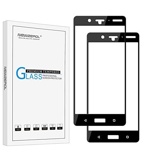 NEWZEROL [2 Stück] Ersatz für Nokia 8 Panzerglas Schutzfolie,(Vollständige Abdeckung), 0.26mm 9H Festigkeit Anti-Kratzen, Anti-Öl, Anti- Bläschen Bildschirmschutzfolie- Schwarz[Lebenslange Ersatzgarantie]