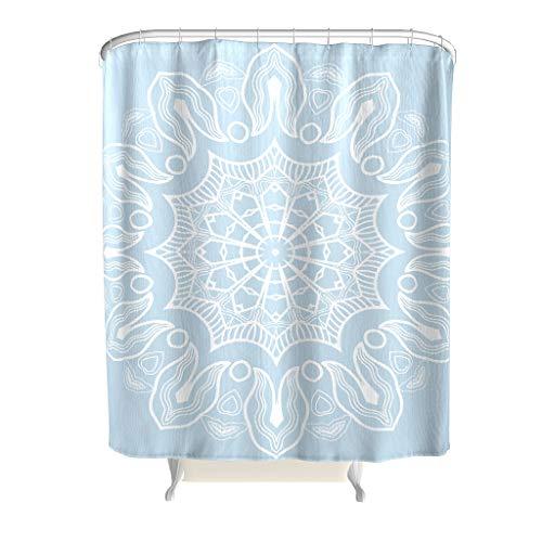 XunYun-Curtain Duschvorhang, Mandala-Design, mit Haken, wasserdicht, Polyester, Hellblau, weiß, 150x200cm