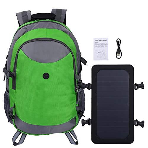 Mochila Solar, Bolso de Hombro Solar Que va de excursión portátil, Que va de excursión Que acampa para Subir(Green)