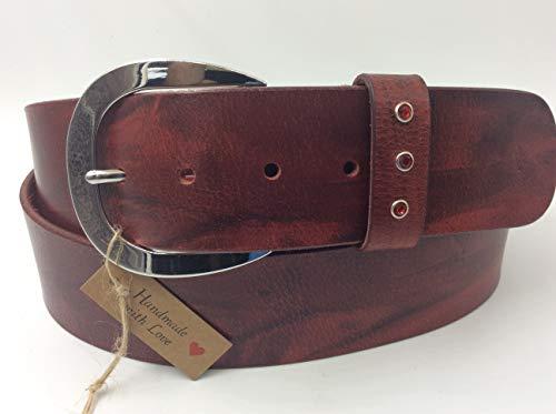 Ledergürtel eigens handgemacht, 135cm Gesamtlänge, 120 cm Bundlänge, kürzbar, top Qualität, rot/schwarz, Gürtel Leder