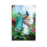SANDYN Tierposter Landschaftsmalerei mit Pfauen-Poster,