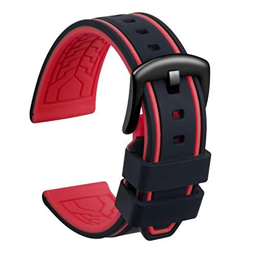 ULLCHRO Unisex Kautschuk Armband mit Gebürstete Edelstahl Silber Schnalle 22mm Schwarz Rot