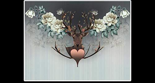 Fotobehang - Dierlijk Bloem Hertenhoofd Niet-geweven muurschildering voor Premium Kunstdruk Poster Beeld Ontwerp Moderne Slaapkamer Woonkamer Huisdecoratie 250x175 cm/98.42x68.89 inch - 5 Strips
