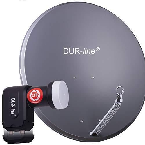 DUR-line 2 Teilnehmer Set - Qualitäts-Alu-Satelliten-Komplettanlage - Select 85cm/90cm Spiegel/Schüssel Anthrazit + Twin LNB - für 2 Receiver/TV [Neuste Technik, DVB-S2, 4K, 3D]