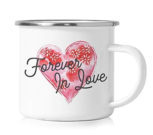 Couples Camper Mug Forever In Love Enamel Coated Camp Cup with Handle Husband Wife Newlywed Boyfriend Girlfriend Relationship Camping Tin Coffee Cute Enamelware Stainless Steel Metal 12oz Digibuddha