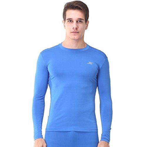 Henri maurice pour Homme de Compression à Manches Longues pour Femme Couche de Base T Chemises pour Fitness Course EL - Bleu - X-Large