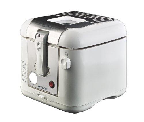 Ariete 4612 Easy Fry Metal - Friggitrice a olio, Spia temperatura, Timer, Capacità 2,5-2,9 Lt, 800 gr di fritto, 2000 W, Facile da pulire, Bianco/Argento