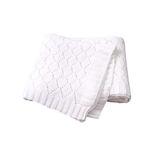 Taotigzu Manta para bebé de algodón orgánico, manta de punto suave, manta de 80 x 100 cm, manta de invierno versátil para bebé como manta para cochecito de bebé (blanco puro)
