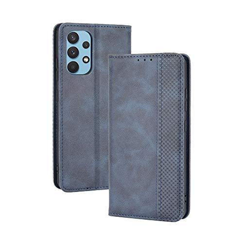 GOGME Leder Hülle für Samsung Galaxy A32 4G(Not for 5G Edition), Premium PU/TPU Leder Folio Hülle Schutzhülle Handyhülle, Flip Hülle Klapphülle Lederhülle mit Standfunktion und Kartensteckplätzen, Blau
