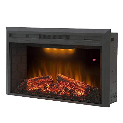 DYHA elektrische haard met verwarming en haardvuur vlammenillusie LED-verlichting 750/1500 Watt vermogen van glazen vlammen met houtdecoratie elektrische open haard