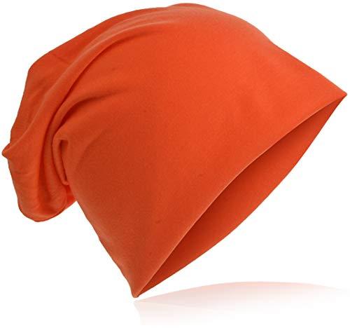 Jersey Slouch Beanie Long Mütze Unisex Unifarbe Herren Damen Trend Beanie-Unifarbe-Orange