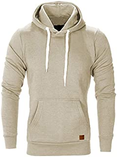 SODIAL Men Fashion Warm Hip Hop Pocket Drawstring Hooded Sweatshirt Casual Solid Color Stretch Knitted Pullovers Sweatshirt Coat Outwear Tops Plus Size Black M