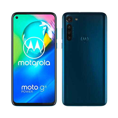 moto g8 power Dual-SIM Smartphone (6,4-Zoll-Max Vision-FHD+-Display, 16-MP-Hauptkamera, 64 GB/4 GB, Android 10) Blau inkl. Schutzcover & KFZ-Adapter [Exklusiv bei Amazon]