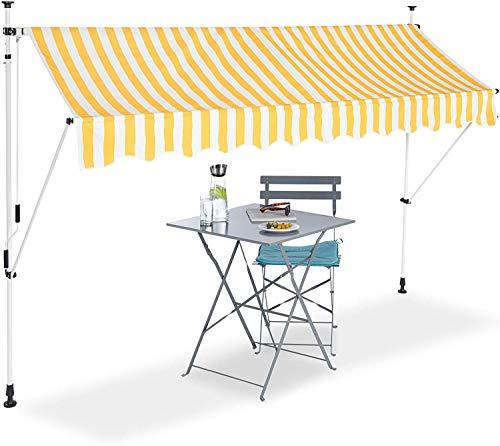 FMXYMC Klemmmarkise, Balkon Sonnenschutz, einziehbar, Fallarm, ohne Bohren, höhenverstellbar
