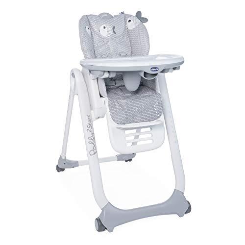 Chicco Polly2Start Trona y Hamaca para Bebés 0 Meses - 3 Años (15 kg), Trona Ajustable, Transformable y Compacta con 4 Ruedas, Respaldo Reclinable - Gris (Dots)