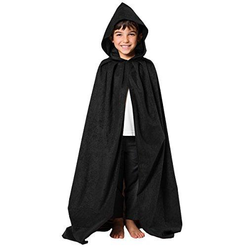 Charlie Crow Noir. Déguisement Cape avec Capuche déguisement pour Les Enfants. Taille Unique 8-10 Ans.