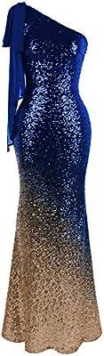 Angel-fashions Women's Asymmetric Ribbon Gradual Sequin Mermaid Long Prom Dress