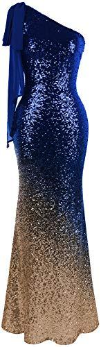 Angel-fashions Damen Asymmetrisch Band Allmählich Paillette Meerjungfrau Lange Ballkleid (XL, Blaues Gold)