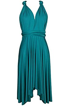Edaydress Plus Size high Low Hem Dress Infinity Dresses Short Bridesmaid Dress Teal