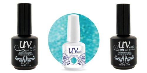uv-nails Soak-off Gel Polish .5oz Glitter Catch Me If You Can # 224+ Base & Top Coat .5oz + pulidor de uñas