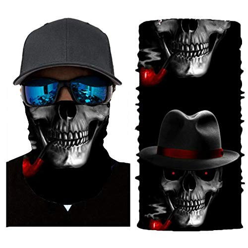 COLORUNION Bandana Face Mask, Cooling Scarf Headwear Neck Gaiter Cover Balaclava Jogging Bicycle Motorcycle Mask for Men Women (Skull-cig)