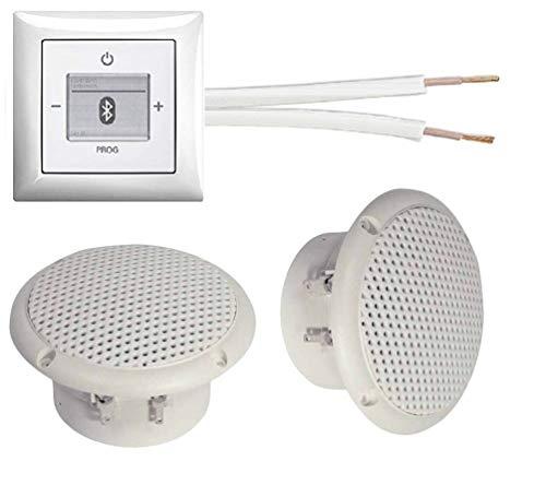 Busch Jäger Unterputz Bluetooth-Radio 8217U alpinweiß Komplett-Set Balance SI + 2 x Deckenlautsprecher (Feuchtraum/Badezimmer) Einbaulautsprecher + Radio + Abdeckung + Rahmen + 20 m Lautsprecherkabel