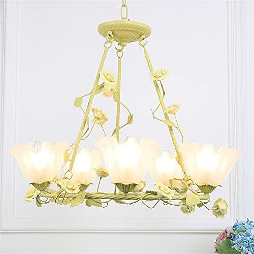 Lámpara De Sala De Estar Lámpara De Flores De Hierro Forjado Lámpara De Escalera Anillo De La Escalera Araña