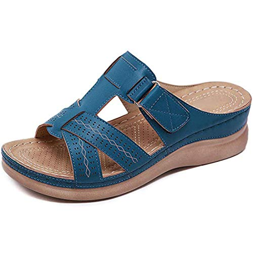 Sandalias de Cuña para Mujer Verano 2020, Sandalias de Punta Descubierta Zapatillas de Plataformas Cuero Cómodo Zapato de Playa Moda Mules Sexy al Aire Libre Sandalias,Royal Blue,43