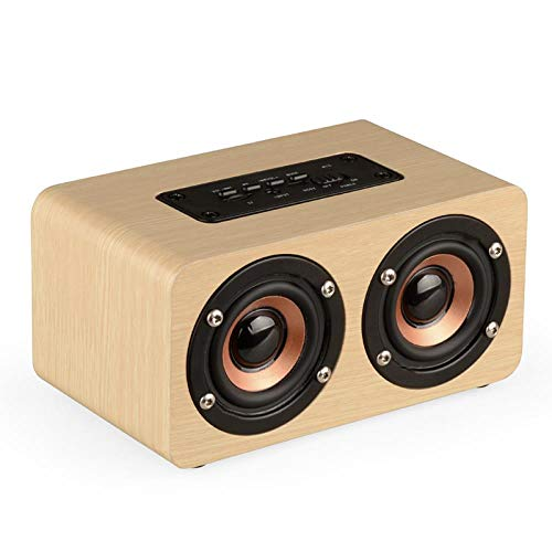 Portable Bluetooth Speaker Wooden Home Wireless Speakers with Mic TF Card Slot Retro Handicraft for Laptop Smart Phones PC|Portable Speakers, Gray