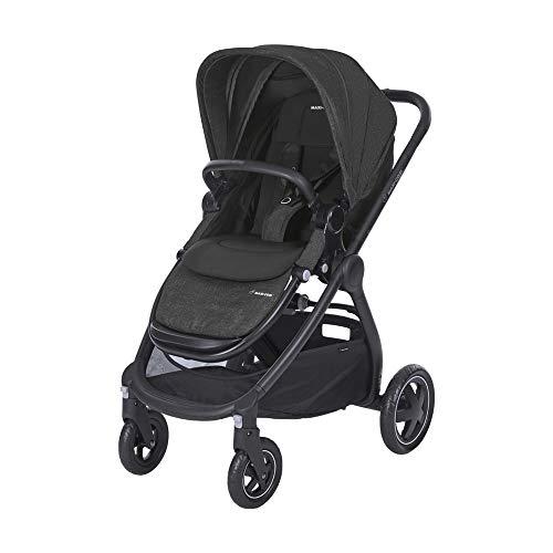 Maxi Cosi Adorra Kombi Kinderwagen, mit Liegeposition, großem Einkaufskorb, einhändigem Faltmechanismus und geringem Gewicht, nutzbar ab Geburt bis ca. 3,5 Jahre, 0-15 kg, Nomad Black (schwarz)