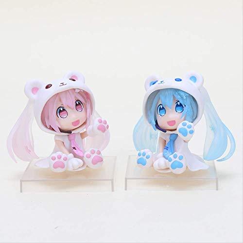 Yangzou 2 Stück 6 cm Kawaii Anime Figur Pink Q Version Hatsune Miku Figur Sakura Bär Hatsune Miku Figur Modell Sammlerstück Spielzeug