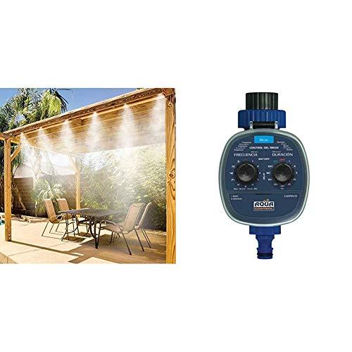 Brumisateurs & Co 052 Kit de Nebulización/Rociador de terraza 7,5 m + Aqua Control C4099O Programador de Riego para Jardín, Para todo tipo de Grifos, Apertura a 0 Bar. Antiguo C4099N