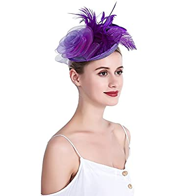 inSowni Flower Tea Party Sinamay Fascinators Hat Cap Feather Mesh Headband Clip for Women Girls