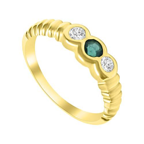 Anillo de compromiso para mujer de oro de 18 quilates con esmeraldas de 0,20 quilates y diamantes de 0,16 ct G VVS