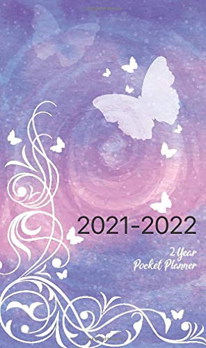 2021-2022 2-Year Pocket Planner: Schedule Organizer for Purse 4 x 6.75 inches 24-Month Calendar | Jan 2021 to Dec 2022 | Federal Holidays, Contacts, ... log | Watercolor White Butterfly Cover
