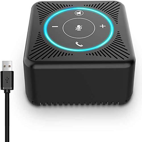 eMeet USB Konferenzlautsprecher - M0 PC Freisprecheinrichtung für 3-5 Personen, 360° Spracherkennung Speakerphone mit 4 AI Mikrofon Arrays, Plug and Play, für Skype, VoIP-Kommunikation PC usw.