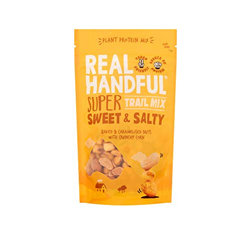 Real Handful Super Sweet and Salty Share Bag - Craft Baked Nuts and Crunchy Corn - Naturally Seasoned - Vegan Friendly - Healthy Protein Snack (9 x 112g)