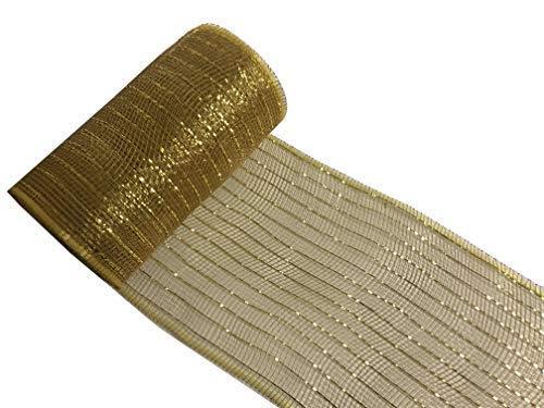 INERRA Deco Mesh stof rol - 15cm x 10 Yards - Poly Decor voor kransen bruiloft en slingers 10 Yards x 15cm Goud