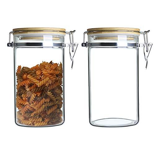 IDEALUX Vorratsglas aus Borosilikatglas,LebensmittelLager mit Edelstahl-Schnalle,Vorratsgläser Glas mit Bambus Deckel (2 * 1000ml)