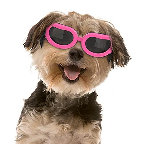 Pawaboo Gafas de Sol para Perros, Gafas con Arnés Ajustable, Impermeable Protector Ocular Protección UV Antivaho, Protección de Ojos para Perros Pequeños - Rosa