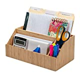 MobileVision Bamboo Desktop All-in-One Organizer for File Folders, Notepads, Pens, Stationary Items, Small