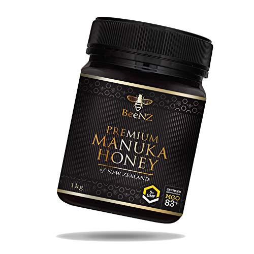 BeeNZ® - Premium Manuka Honig MGO 83+ (UMF5+) 1000g aus Neuseeland - 100% reiner Manuka-Honig ohne Zusatzstoffe - Zertifizierter Methylglyoxal Gehalt - Laborgeprüfte Qualität