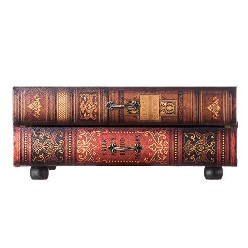 Rebecca Mobili Holzschatulle, Holztruhe mit 2 Schubladen, Holz, Vintage, Braun, für Ordnung Schreibtisch Kosmetikaufbewahrung – Maße: 13 x 30 x 21 cm (HxLxB) – Art. RE6276