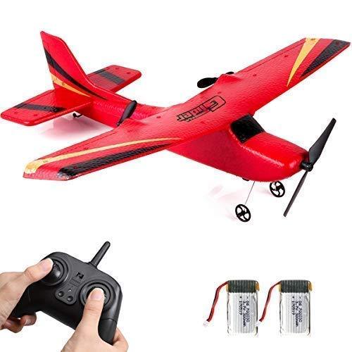 2CHラジコン飛行機、2.4GHz RC航空機、されて簡単に飛ばせる 子供と初心者向けのラジコングライダー(赤)