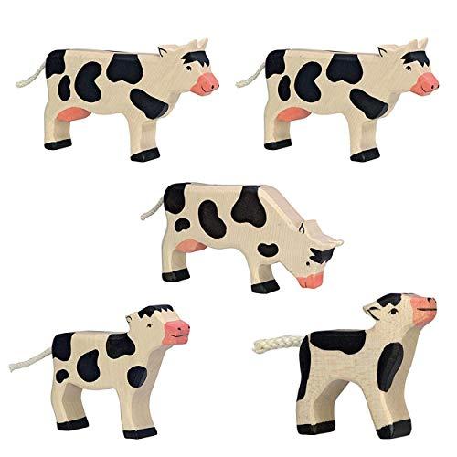 Holztiger Juego de granja de vaca, juguete de madera, 5 vacas en set de animales
