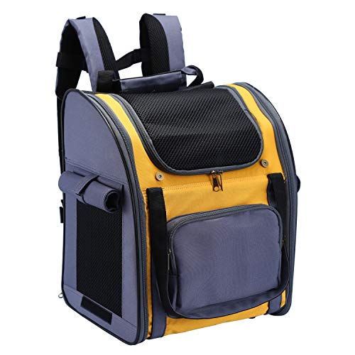 Maxmer Pet Carrier Backpack Dog Travel Bag Top Opening Mesh Soft-sided Strap Dog Cat Carrier Foldable Outdoor Travel Double Shoulder Bags, Dark Blue - Yellow