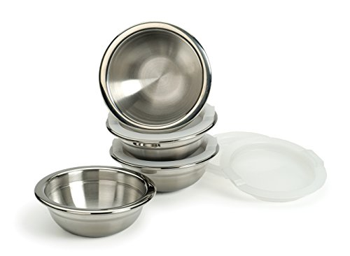 RSVP International Kitchen Prep Bowl Collection Stainless Steel, Dishwasher Safe, 1 Cup Capacity, Set of 4, w/Lids